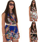 Womens Wrap V Neck Crochet Lace Chiffon Lined Floral Sleeveless Party Playsuit