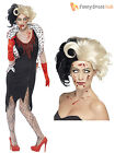 Ladies Zombie Cruella De Ville Costume + Wig Evil Womens Halloween Fancy Dress