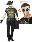 Mens Plague Doctor Costume + Mask Venetian Masquerade Halloween Fancy Dress