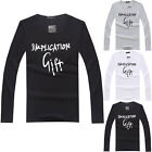 New Fashion Men's T-shirt Letter Pattern Long Sleeve Pullover Tops