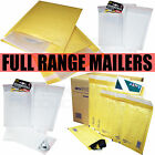 GOLD WHITE BUBBLE PADDED ENVELOPES MAILERS BAGS ALL SIZES / QTY'S