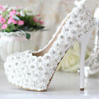 Elegant Glitter Royal Pearl Grace Wedding Pearl Party Lace Flower High Heel