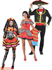Mens Ladies Day of The Dead Mexican Halloween Fancy Dress Costumes Couples