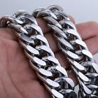 22mm Double Curb Rombo Link Men Chain Silver 316L Stainless Steel Necklace HEAVY