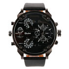 OULM Big Dial 2 Time Zone Men Military Quartz Sport Leather Band Wrist Watch AB