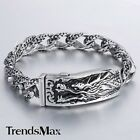 12mm Carved Curb Link Mens Chain Silver 316L Stainless Steel Dragon ID Bracelet