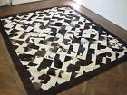 NEW COWHIDE PATCHWORK RUG LEATHER CARPET cu_441