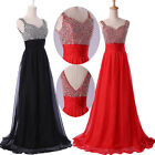 New Long Chiffon Formal Prom Dresses Party Evening Pageant Wedding Gown V Neck