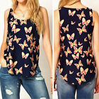 Pretty Chiffon Butterfly Print  Blouse Sleeveless T-SHIRT Vest Tank Top Lady