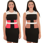Ladies Sleeveless Contrast Panel Slimming Effect Fitted Bodycon Party Dress