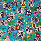 per 1/2 metre/fat quarter 100 % cotton Turquoise funky skulls  fabric goth