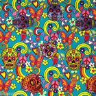 per 1/2 metre/fat quarter 100 % cotton Turquoise hippy skulls & butterflies