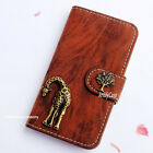New Giraffe Phone Leather wallet flip case Handmade cover For iPhone 4 5 6S plus