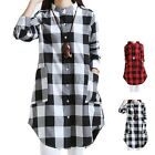 New  Lady Autumn Plaid Lapel Shirt Maternity Loose Dress Pregnant Long Clothes