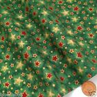 Green & gold vintage star Christmas fabric 100 % cotton per 1/2 mtr or per FQ