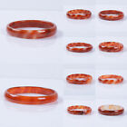 Red white agate smooth bangle bracelet 53.69-56mm