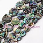 """8.10.12.14mm Natural Coin Natural Abalone Shell Spacer Loose Beads Strand 15"""""""