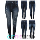 Womens Denim Look Feel Thick Thermal Navy Jeggings Jean Leggings One Size