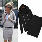 Women 2 Pcs Casual Tracksuit Suit Hoodie Sweatshirt +Irregular Flage Skirt Dress