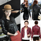 Fashion Womens Slim Biker Moto PU Leather Jacket Coat Zipper Punk Casual Outwear