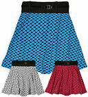 Girls Bright Skater Skirt New Kids Belted Flared Circle Skirt Ages 7-13 Years