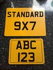 Motor Bike Number Plate 7x5 Show Plate Rear Yellow Choose Own Slogan Personalise