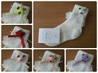 L@@K! Cute Girls Ivory Frilly Socks! Triple Rose Detail Various Colours & Sz