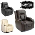 OSCAR LEATHER RECLINER w DRINK HOLDERS ARMCHAIR SOFA CHAIR RECLINING CINEMA