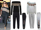 Women Ladies Girls Celeb Inspired Jess Wright leopardTrim Off Shoulder Tracksuit