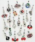 New Surgical Steel Casino Playing Card Skull Dice Dollar Belly Navel Bar Stud
