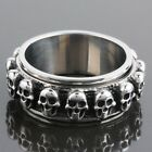 316L Men's Stainless Steel Skull Head Center Spinner Spinning Band Finger Rings