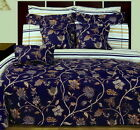 11 Piece Country Cottage Egyptian Cotton Reversible Blue Duvet Cover Sheet Set