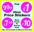 Retailers / Shop 20mm Pink Price Point Stickers POS / Shop Sticky  Labels £1, £2