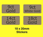 9ct 14ct 18ct White Gold / Labels - Ideal For Use In Jewellery Boxes etc.