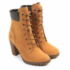 """Timberland Women's EK Glancy 6"""" 8715A Leather Lace-Up Heeled Boot Wheat"""