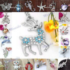 1X Cute Animal Silver Plated Crystal Rhinestone Pendant fit Necklace DIY Gift