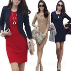 Long Sleeve Wiggle Bodycon Dresses Winter ladies Pencil Dress Size 12 10 8 6