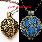 Glow in the Dark Pendant Halloween Bronze Locket Steampunk Fluorescent Necklace