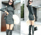 Hot Fashion Women's High Neck Hollow Long Sleeve Hip-hugger Blended Cotton Dress