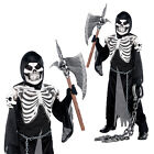 Teens Crypt Keeper Fancy Dress Boys Skeleton Grim Reaper Halloween Party Outfit