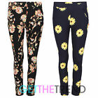 Womens New Floral Trousers Tapered Leg Pants Ladies Flower Pocket Trousers