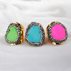 Size 7.5~9 Wholesale 5Pcs Howlite Turquoise Pave CZ Band Ring Gold Plated BJ101