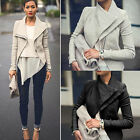 Fashion Womens Slim Outwear Turn-Down Collor PU Leather Casual Biker Jacket Coat