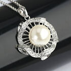 B1-Q028 Fashion Pearl Flower Necklace Pendant 18KGP Swarovski Crystal