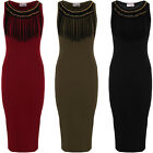 Ladies Sleeveless Chain Crepe Cut Out Back Bodycon Fringe Tassel Midi Dress