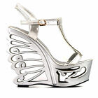 Pink/Silver T-Strap Bride Wedding Wedge Butterfly Heel Sandals AU Size 4/5/6/7/8