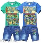 NEW Kids Boys TMNT Ninja Turtle outfit Top+short Jean Costume 3Yrs-8Yrs