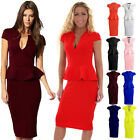 Womens Cap Sleeve Plunge V Neck Knee Length Peplum Frill Midi Bodycon Dress