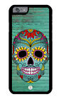 iPhone Case Premium Protective Cover Sugar Skull on Teal Wood