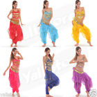 Hot Belly Dance Costume Top + Gold Wavy Pants Bloomers + Hip Scarf Wrap Skirt US